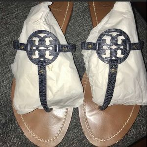 Tory Burch Mini Miller Sandals Navy blue sz 10.5